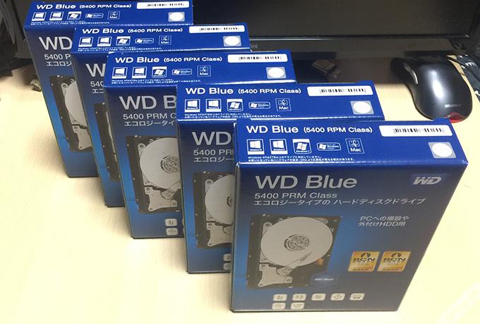 ハードディスク3TB×5つ